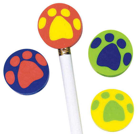 Round Paw Pencil Top Eraser,  #52954