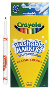 Crayola Washable Markers, Fine Pt, SSH (1 box), #587809E (E-53)