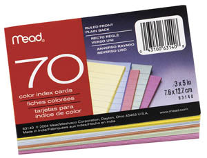 Mead 3 x 5 Ruled Colored Index Cards, #63140