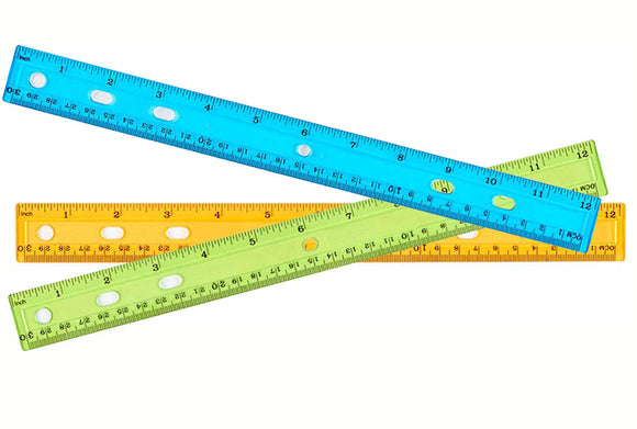 Clear Assorted Colors 12 inch Ruler (36/unit), #6314 (Z-5)