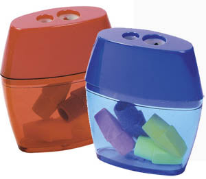 2 Hole Pencil Sharpener with FREE Erasers, #76548