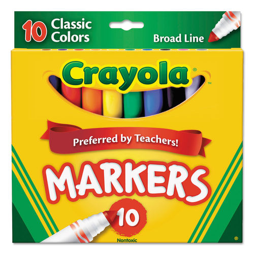 Crayola 10 ct. Washable Markers, Broad Pt, (6 boxes/unit), #7722 (D-6)