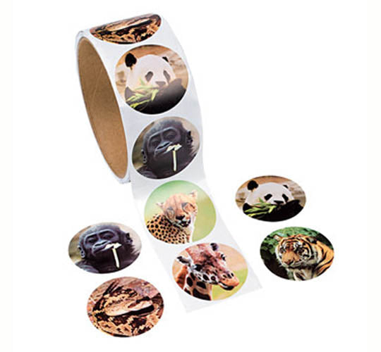 Wild Animal Sticker Roll/100, #91214
