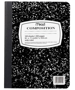 Mead Black Marble Composition Book, WR, #9910