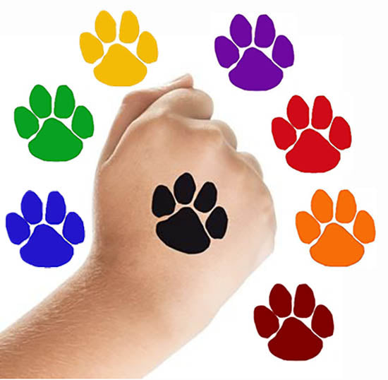 Paw Print Tattoos, 11 color choices, D1705