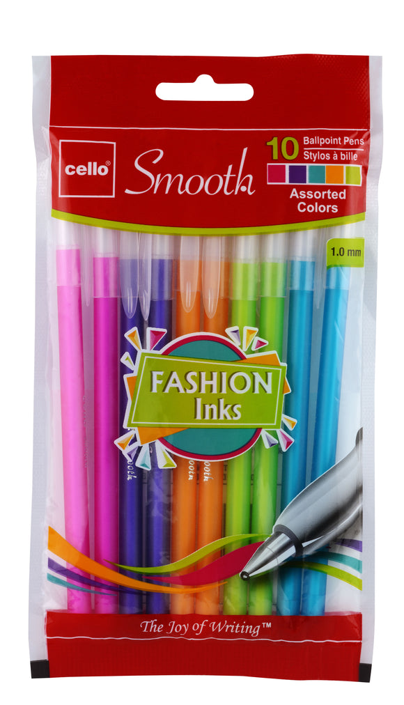 Cello Smooth Stick Pen, Fashion Colors (60 per unit) #156704 (C-38)