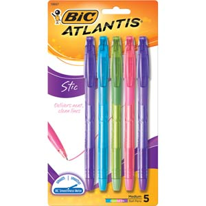 Bic Atlantis Exact Pen Fashion Ink 5 pack  VSGAP5 (D-17)