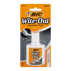 Bic Wite-Out Quick Dry Correction Fluid (1 per pack), WOFQP01