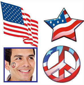 Patriotic Stars & Stripes Tattoos (100/unit),  D1800