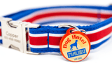 Custom Collar Red/Blue Cabana