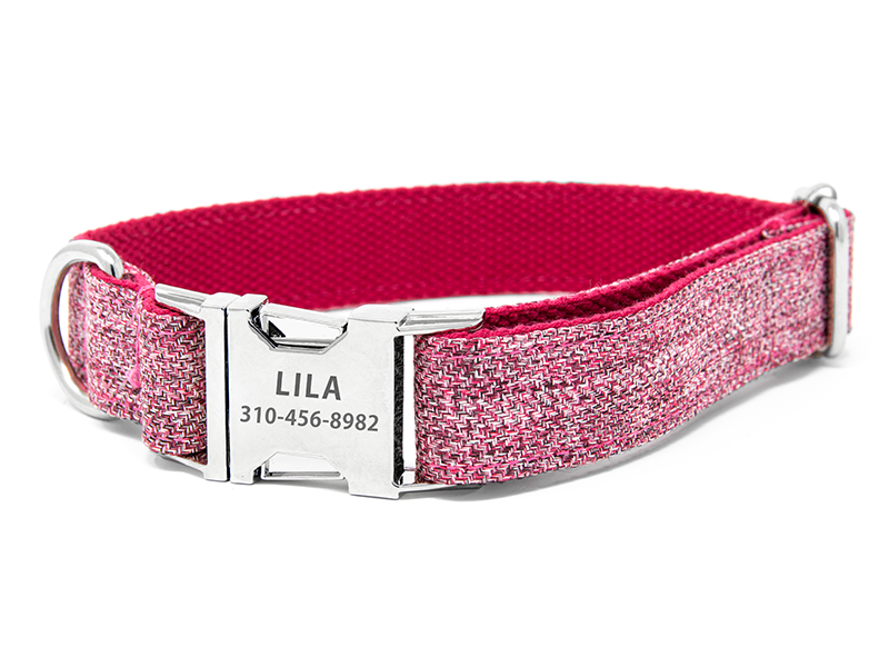 Custom Collar Pink Tweed