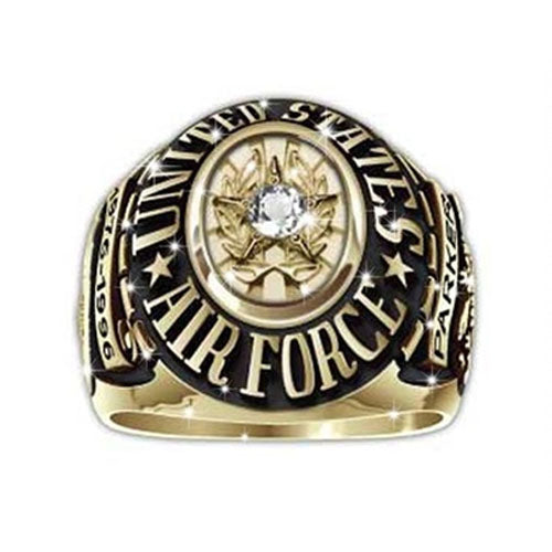 US Airforce Ring Round Custom - Emblem Clear Stone