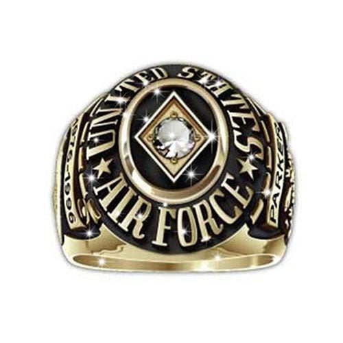 US Airforce Ring Round Custom - Spade Clear Stone