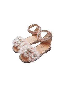 Babywalker Mink And Pearls Embellished Leather Sandals