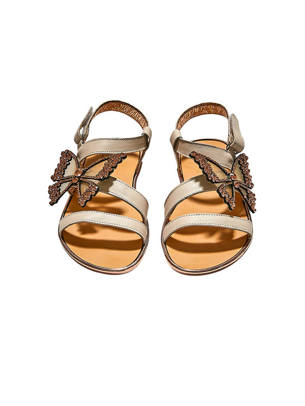 Crystal Butterfly Embellished Leather Sandal