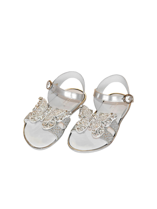 Crystals Embellished Butterfly Decoration Leather Sandal