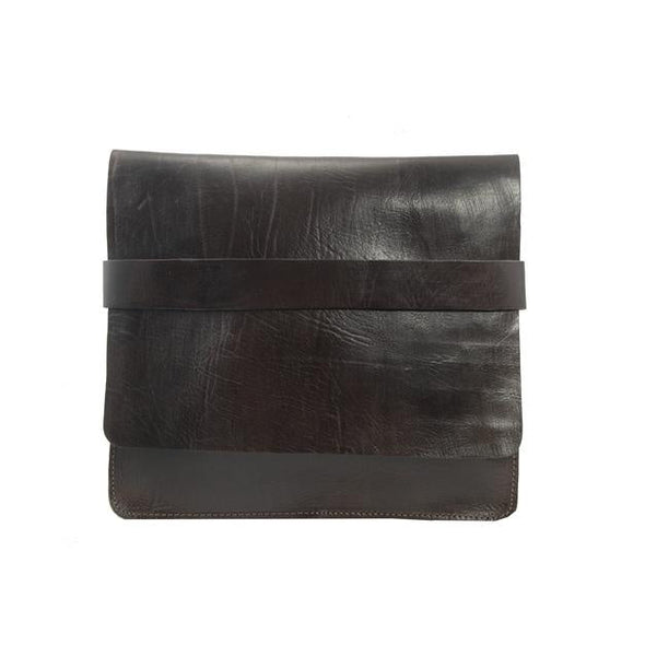 Leather computer case - Chocolate-ISMAD LONDON