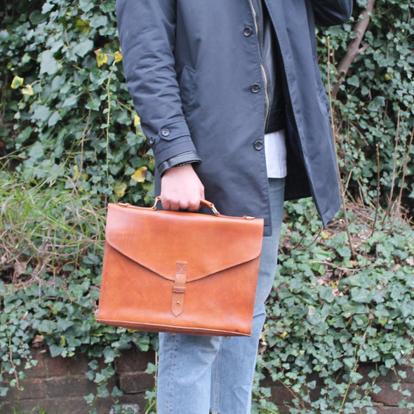 Cambridge Briefcase - Tan-ISMAD LONDON