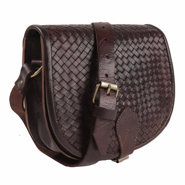 Sam Woven Saddle Bag -Chocolate-ISMAD LONDON
