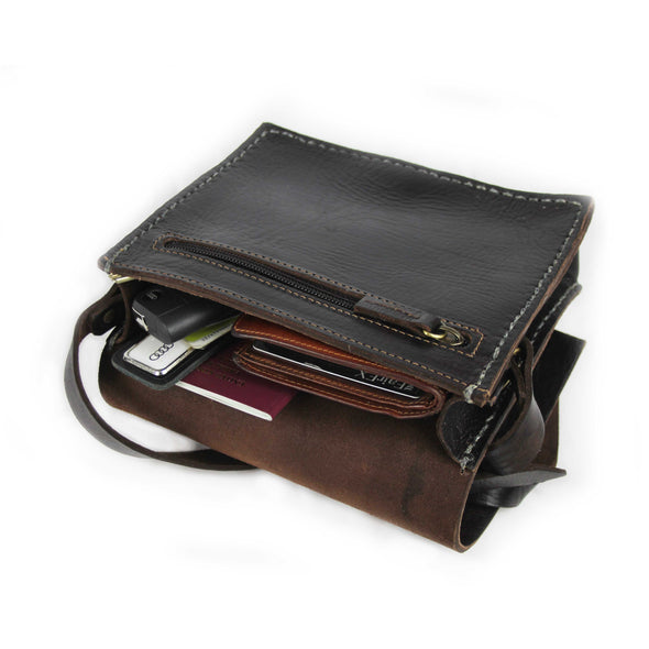 Jessie Chocolate Small Messenger Leather Bag