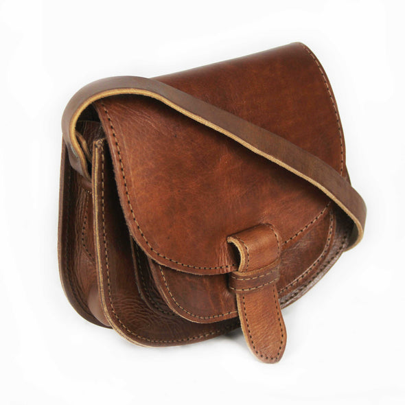 Maya Small Tan Leather Saddle Bag