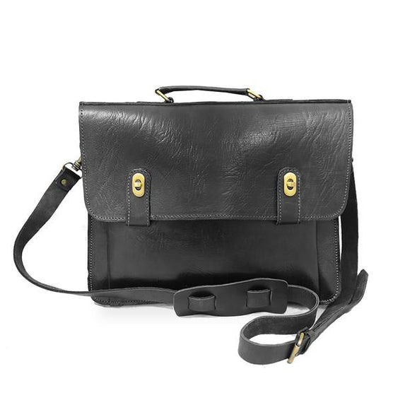 Brixton Briefcase - Black-ISMAD LONDON