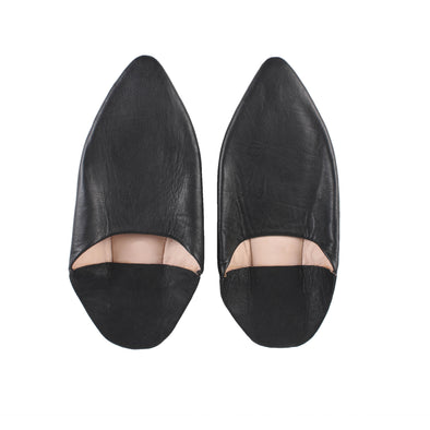 Men's Pointed Babouche - Black - Artisan Stories