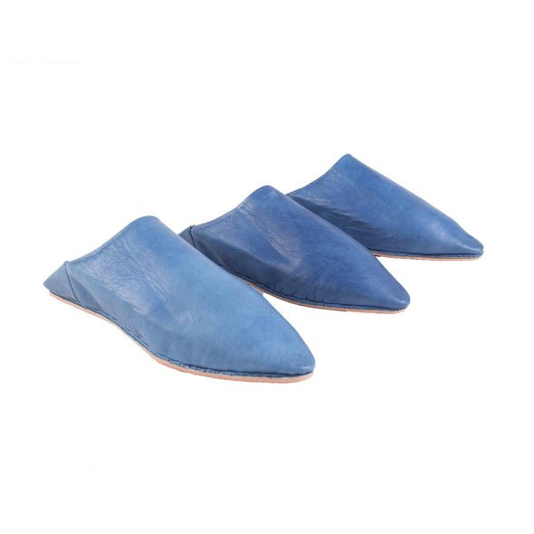 Men's Pointed Babouche - Blue - Artisan Stories