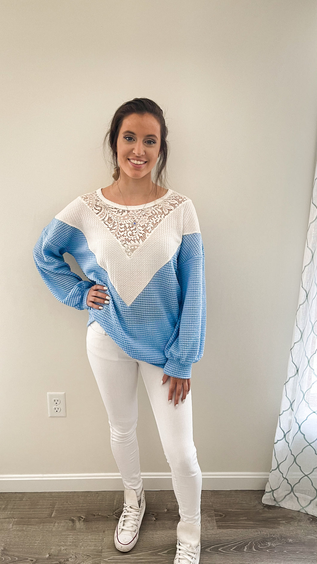 Forget-Me-Not  Waffle Knit With Lace Details