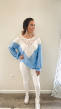 Load image into Gallery viewer, Forget-Me-Not  Waffle Knit With Lace Details