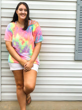 Load image into Gallery viewer, Pastel Dreams Cold Shoulder Tie Dye Top