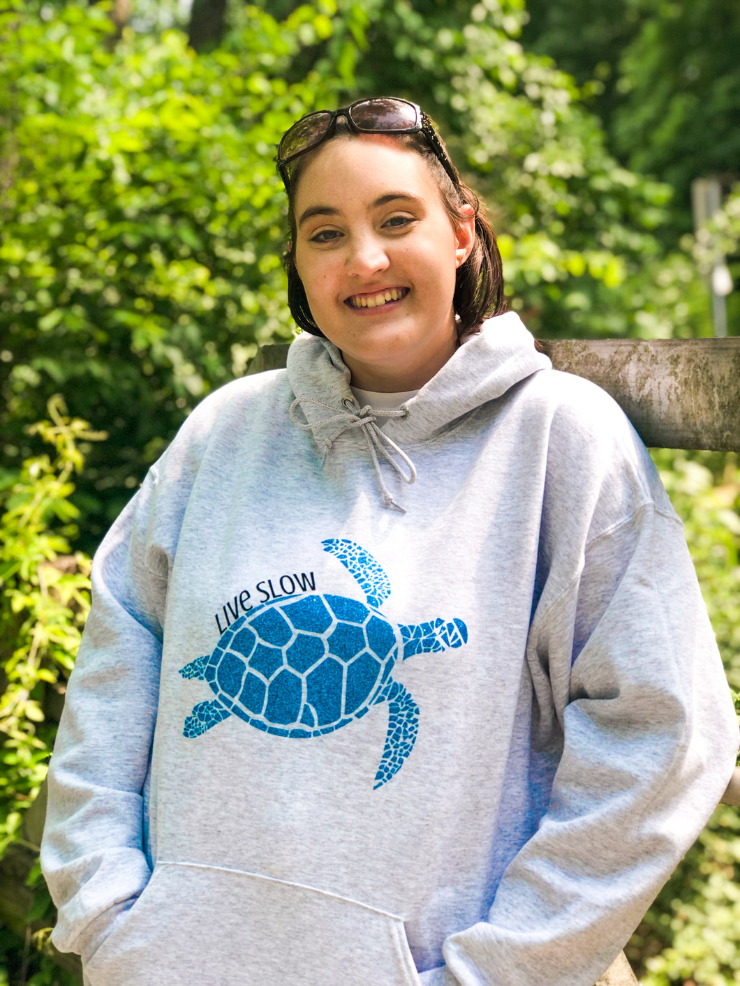Live Slow Turtle Glitter Hoodie