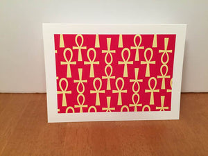 Ankh Greeting-Red and Yellow-(single greeting card)