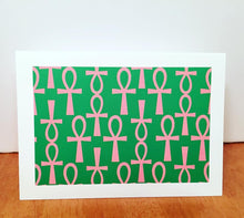 Load image into Gallery viewer, Ankh Greeting Card-Green and Pink (single greeting card)