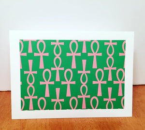 Ankh Greeting Card-Green and Pink (single greeting card)