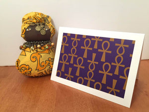 Ankh Greeting Card-Purple and Gold (single greeting card)