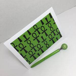 Ankh Greeting Card-Green and Black (single greeting card)