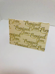 Ebonized Glam Greeting Card-Eggshell with Chocolate Lettering (single greeting card)