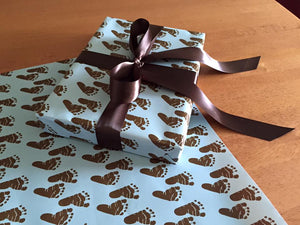 Brown Baby Boy Gift Wrap Paper