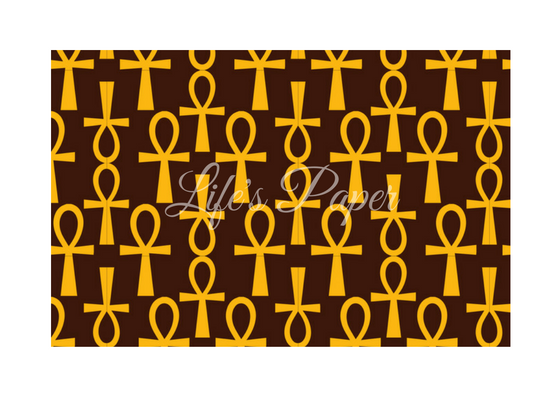 Ankh Greeting Card-Brown and Gold (single greeting card)