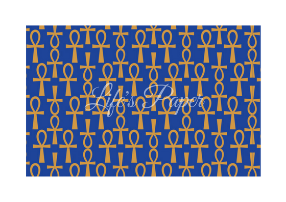 Ankh Greeting Card-Blue and Gold (single greeting card)