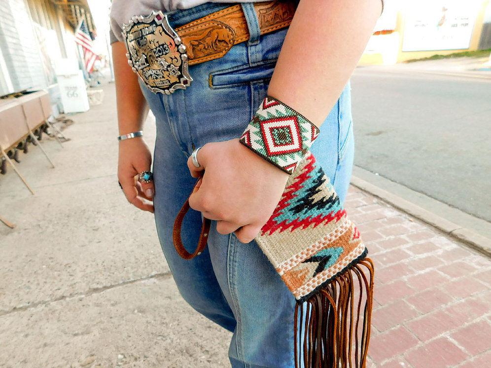 Zia Saddleblanket Wristlet Fringed