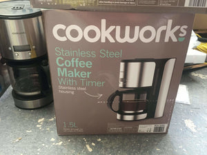 New Cookworks Stainless Steel Coffee Maker With Timer - Discounted Deals UK