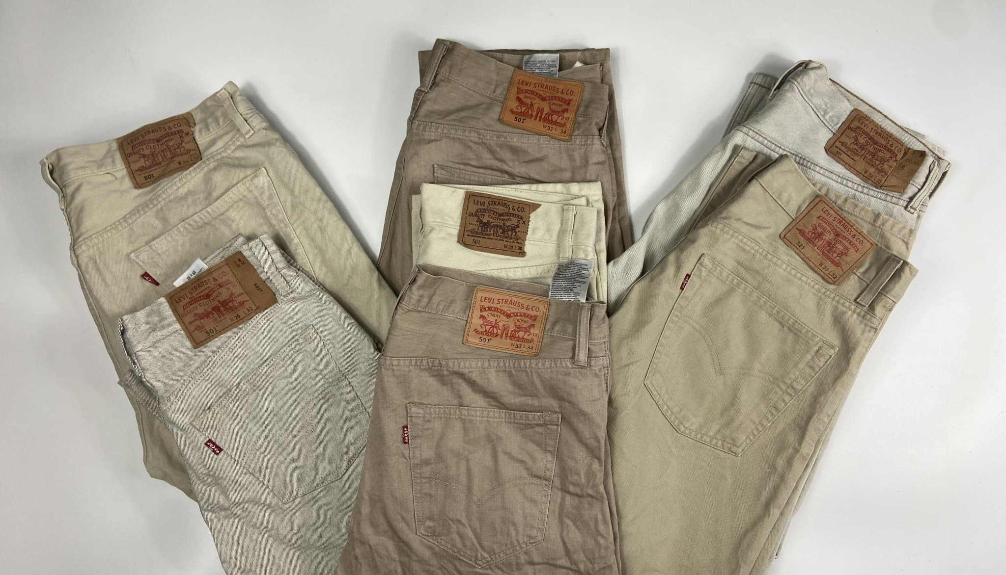 Vintage Levi's Classic Beige/Cream 501 Jeans W33 L34 (BE1) - Discounted Deals UK