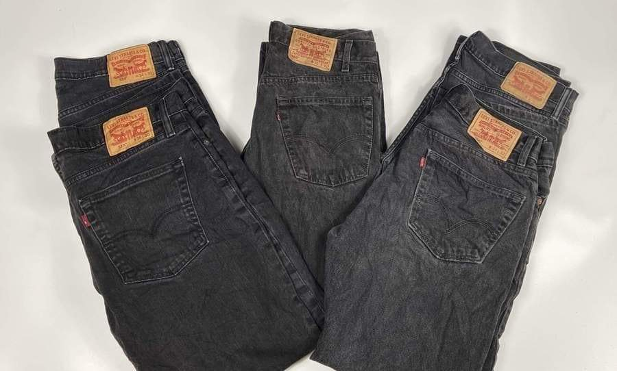 Vintage Original Levi's Dark Black Zip Fly Jeans Waist 42 Length 32 - Discounted Deals UK