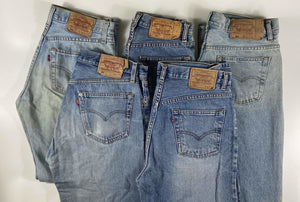 WORN Vintage Levi's Classic 501 Jeans W34 L34 - Lighter Blue Wash (DHLB4) - Discounted Deals UK