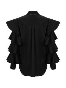 MARCELLA - Layered Flared Sleeve Bow Neck Shirt