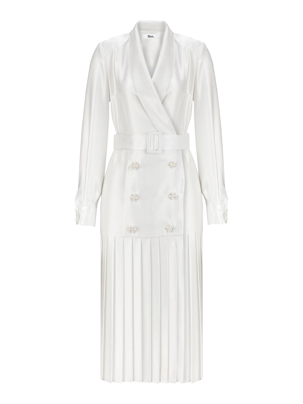 DIANA - Double Breasted Pleated Midi Dress
