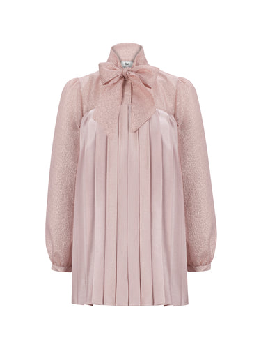 BETTY - Bow Neck Pleated Blouse