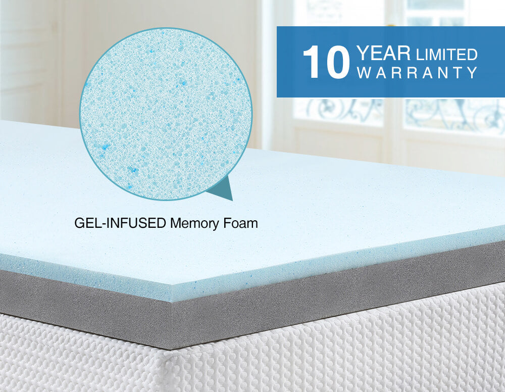 Inofia 3 Inch Single Gel Memory Foam Mattress Topper with Cover